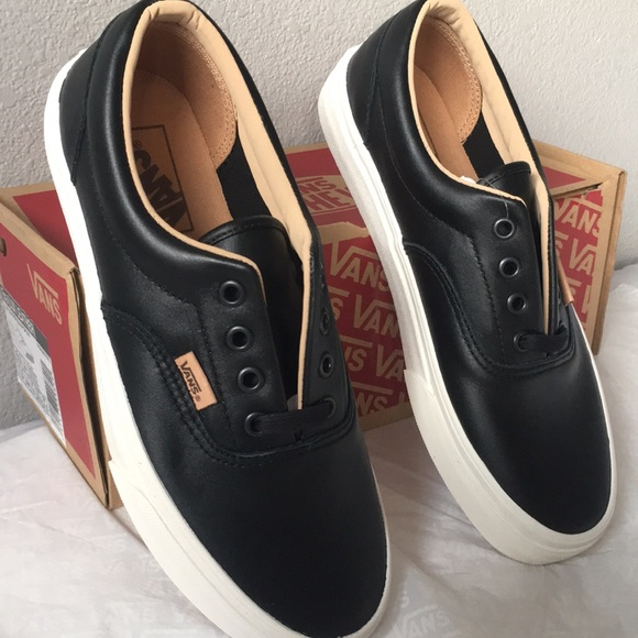 Vans Era (Lux Leather) BlackPorcini | Vans, Leather, Black